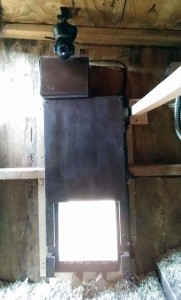 Arduino Chicken Door: installed - interior
