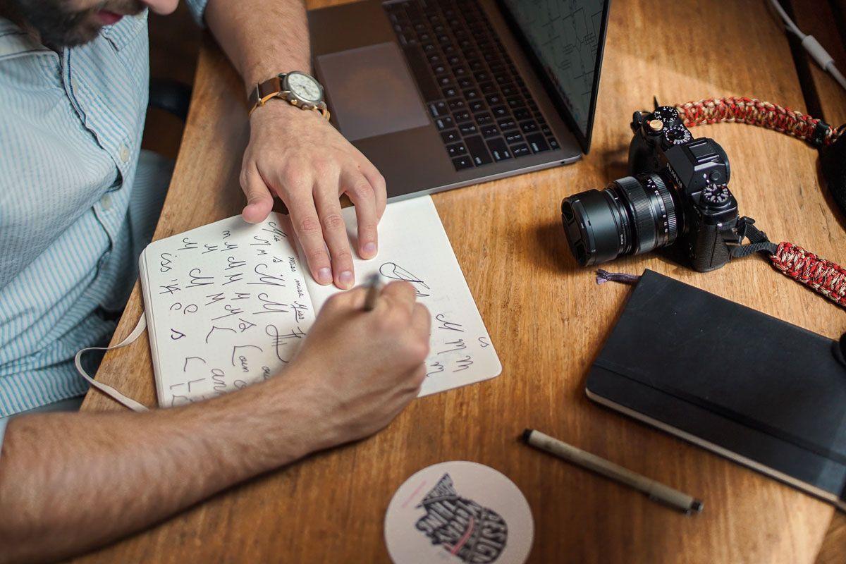 Man Sat Sketching