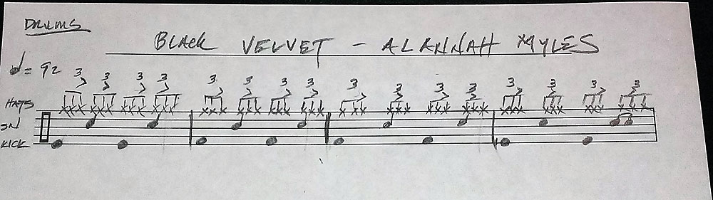 Drum Transcription - Black Velvet - Alannah Myles- Drummer - Jørn Andersen