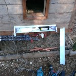 Wiring Chicken Coop Heater (shop light with cover off) - Exterior Pipe Protection (mounted under stairs and above wrapped pipe)