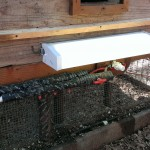 Chicken Coop Heater - Exterior Pipe Protection (mounted under stairs and above wrapped pipe)